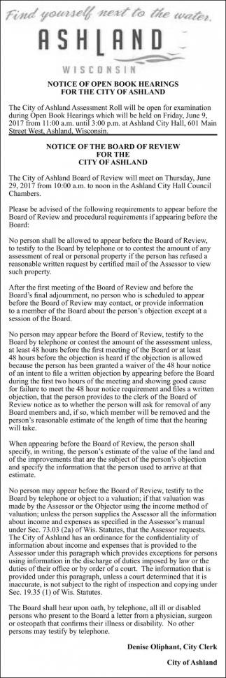 Notice of Open Book Hearings