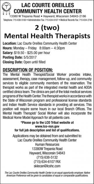 Mental Health Terapists