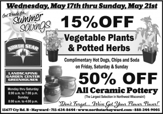15% off vegetables plants & potted herbs