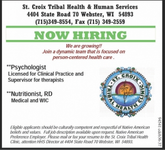Psychologist Nutritionist Rd St Croix Tribal Health And Human