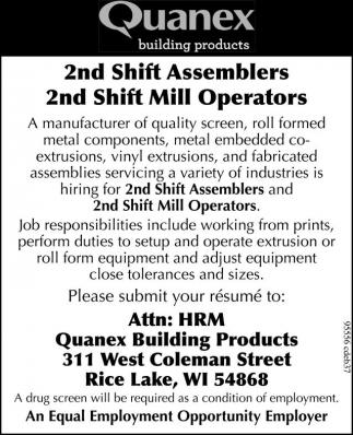 Assemblers, Mill Operators