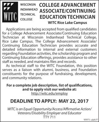 College Advancement Associate / Continuing Eduaction technician
