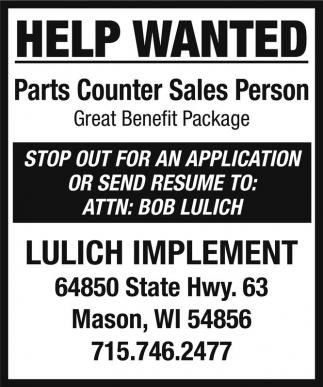 Parts Counter Sales Person