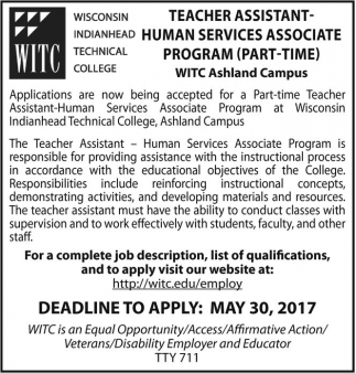 Teacher Assistant - Human Services Associate Program