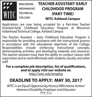 Teacher Assistant Early Chilhood Program