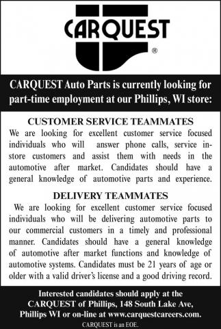 Customer Service, Delivery, Carquest - GTC Auto Parts, Spooner, WI