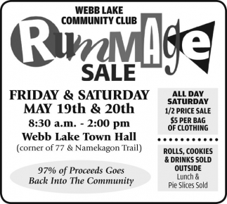 Rummage Sale, Webb Lake Community Club on webster missouri, webster new hampshire, webster miami, webster mass, webster nh, webster house new york, webster flea market map, webster mn, webster park white house, webster sd, webster wi, webster wv, webster california, webster apartments, webster texas,