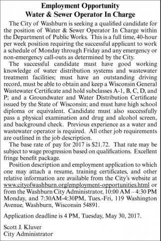 Water & Sewer Operator In Charge