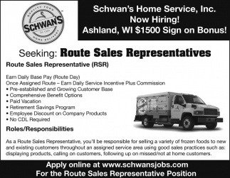 route sales representatives schwans home service inc. sales ...
