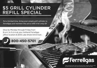 $5 Grill Cylinder Refill Special