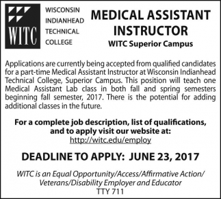 Medical Assistant Instructor Wisconsin Indianhead Technical College