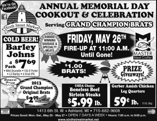 Annual Memorial Day Cookout & Celebration