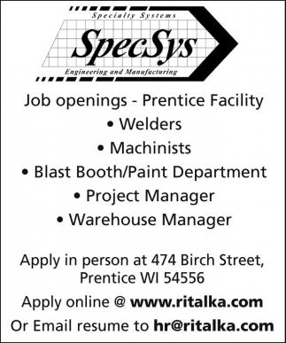 Welders, Machinists, Blast Booth/Paint Department, Project Manager, Warehouse Manager