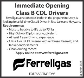 Immediate Opening Cass B CDL