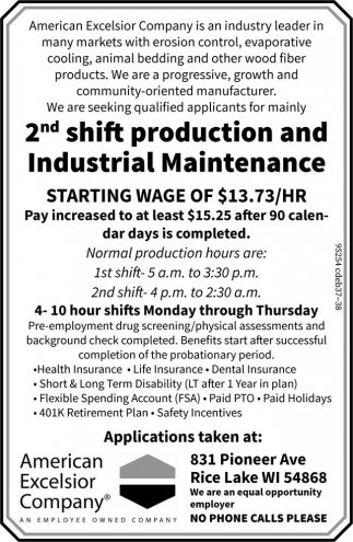 Production and Industrial Maintenance