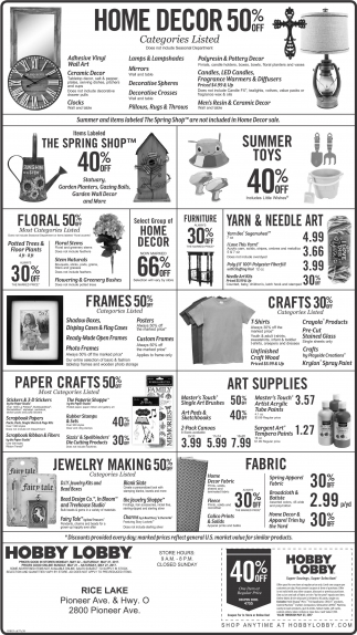 hobby lobby rice lake home decor 50 off shopping ads from