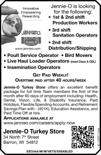 Production Workers, Sanitation Operators, Distribution/Shipping, Poult Service Operator, Bird Movers, Live Haul Loader Operators, Insemination Operators