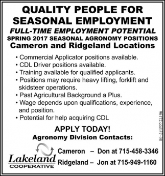 Seasonal Employment