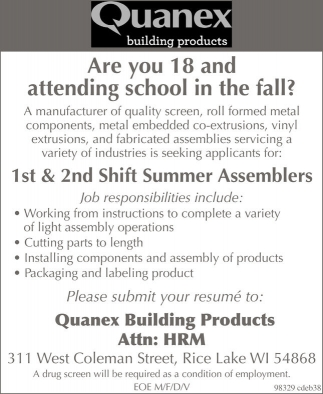 Quanex building products summer assemblers employment for Quanex building products
