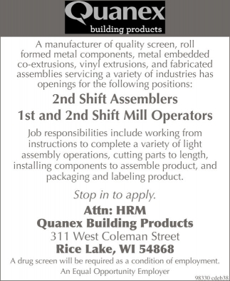 Quanex building products assemblers mill operators for Quanex building products