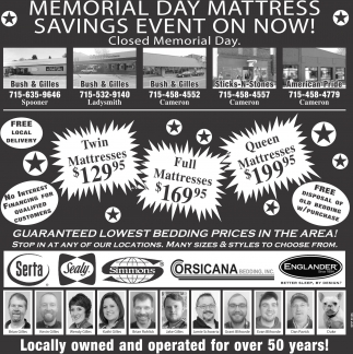 Memorail Day Mattress Savings Event on Now!