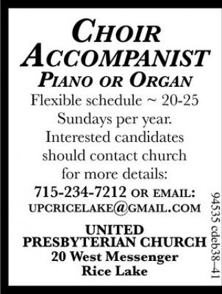 Choir Accompanist Piano or Organ