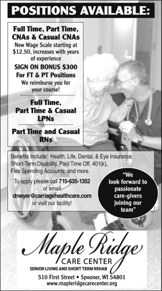 CNAs, FT & PT, LPNs and RNs