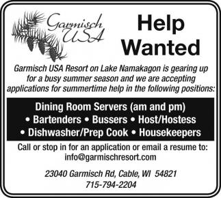 Dining Room Servers Bartenders Bussers Host Dishwasher Prep Cook