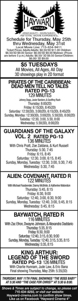 Pirates of The Caribbean: Dead Men Tell no Tales - Guardians of The Galaxy Vol. 2 - Alien: Covenant - Baywatch - King Arthur: Lehend of The Sword