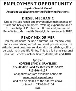 Diesel Mechanic, Ready Mix Driver