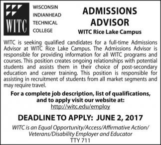 Admissions Advisor