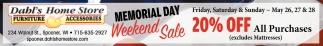 Memorial Day Weekend Sale 20% off