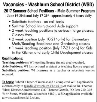 2017 Summer School Positions