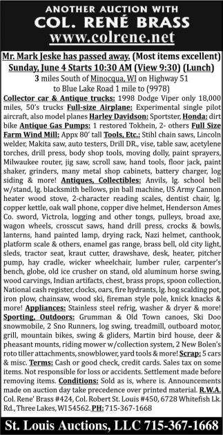 Collector car, antique trucks, collectibles, appliances, sporting outdoors