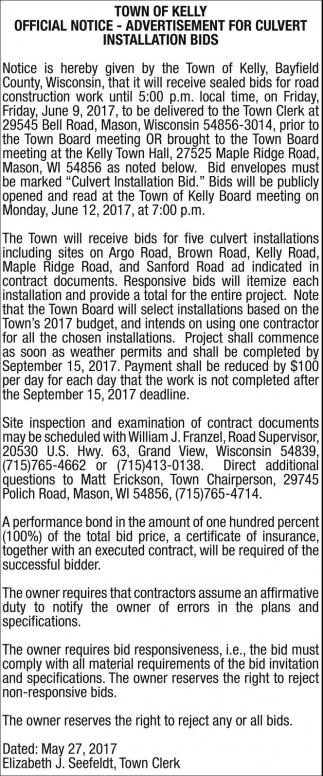 Advertisement for Culvert Installation Bids