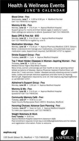 Health & Wellness Events June's Calendar