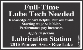 lubrication station full time lube tech employment ads