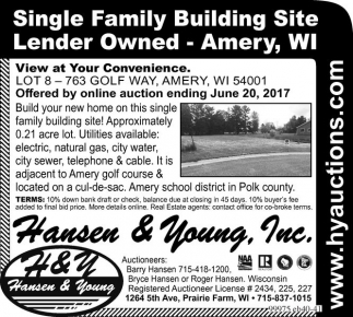 Single Family Building Site Lender Owned