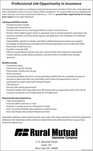 Professional Job Opportunity In Insurance Rural Mutual Insurance
