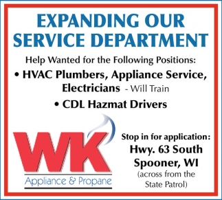 HVAC Plumbers, Appliance Service, Electricians, CDL Hazmet Drivers