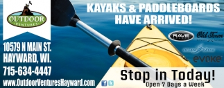 Kayaks & Padleboards Have Arrived