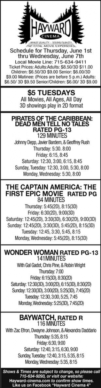 Pirates of The Caribbean: Dead Men Tell no Tales - The Captain America: The First Epic Movie - Wonder Woman - Baywatch