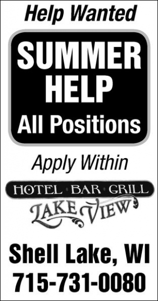 Summer Help All Positions Lakeview Bar And Grill Shell