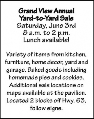 Grand View Annual Yard To Yard Sale Saturday June 3rd Lunch Available Community Ads From
