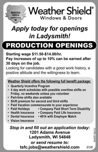 PRODUCTION OPENINGS