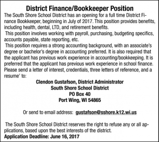 District Finance/Bookkeeper