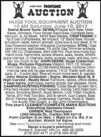 Huge Tool, Equipment Auction