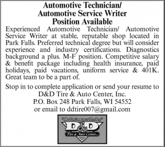 Automotive Technician / Automotive Service Writer Position Available