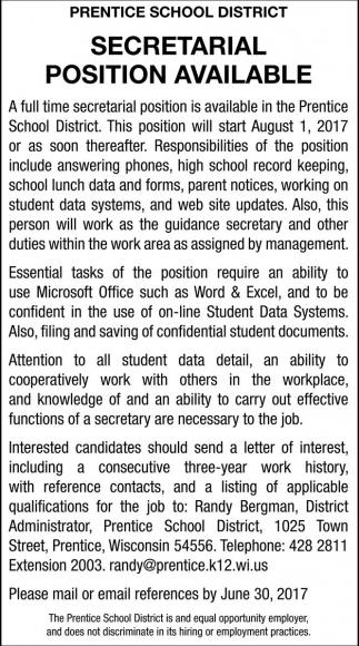 Secretarial Position Avaible