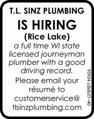 Licensed Journeyman Plumber